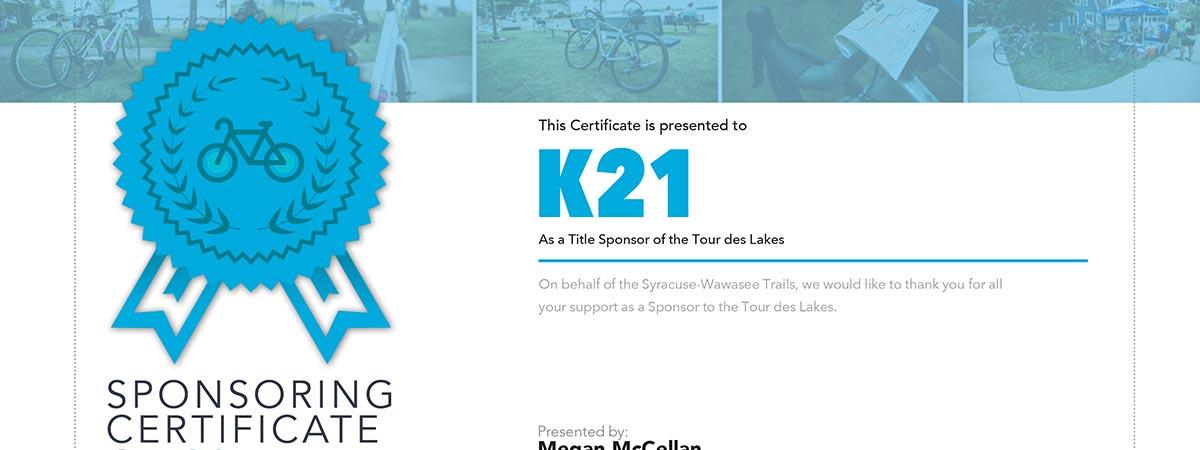 Tour des Lakes 2016 Sponsorship Certificates