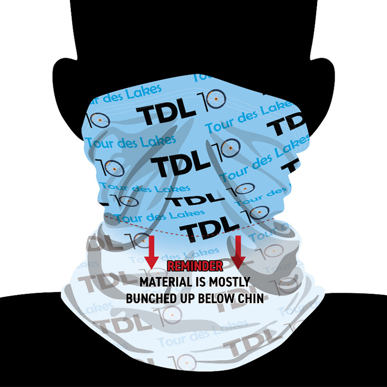 Tdl10 neck gaiter - tour des lakes - tour on your bike 8 beautiful lakes including syracuse, wawasee, north webster, winona and more